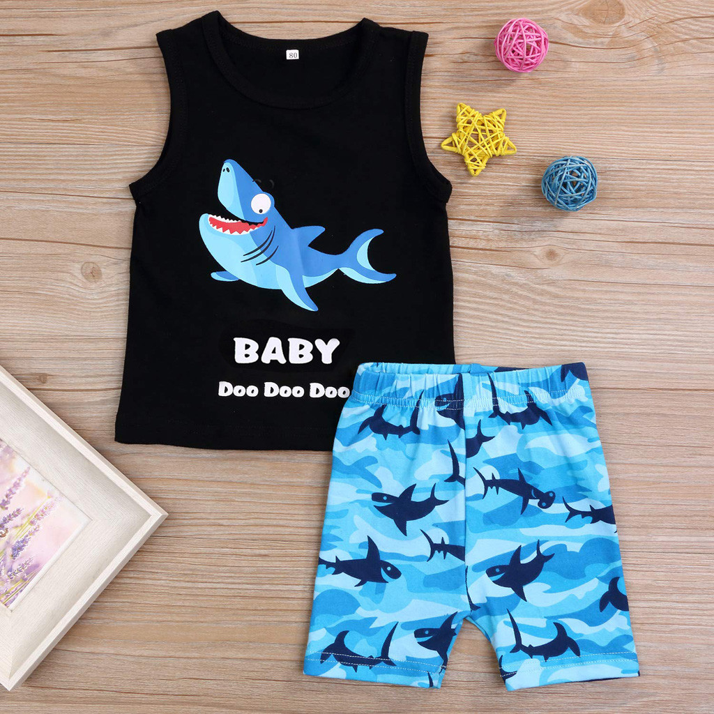 Summer Toddler Boy Clothes Sets Kids Baby Boys Cartoon Shark Letter Vest Tops+Shorts Pants Child Outfits Set 1 2 3 4 Years