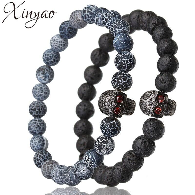 XINYAO 2017 Fashion Pave Cubic Zircon Skull Bracelets Men Women Natural Stone Beads Black Lava Agates Bracelet Bracciali Uomo