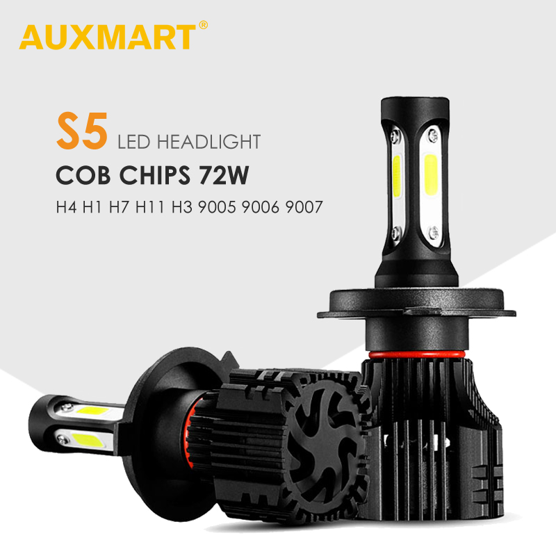 AUXMART 2 Chips Led H1 H3 9005 9006 H7 LED Car Headlight 8000lm 72W 6500K H8