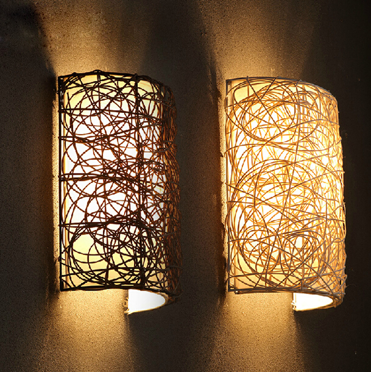 Modern Brief Fashion Loft Vintage Mirror Corridor Bedside Balcony Woven Grass Rattan Edison Wall Sconce Lamp Lighting Fixture modern lamp trophy wall lamp wall lamp bed lighting bedside wall lamp