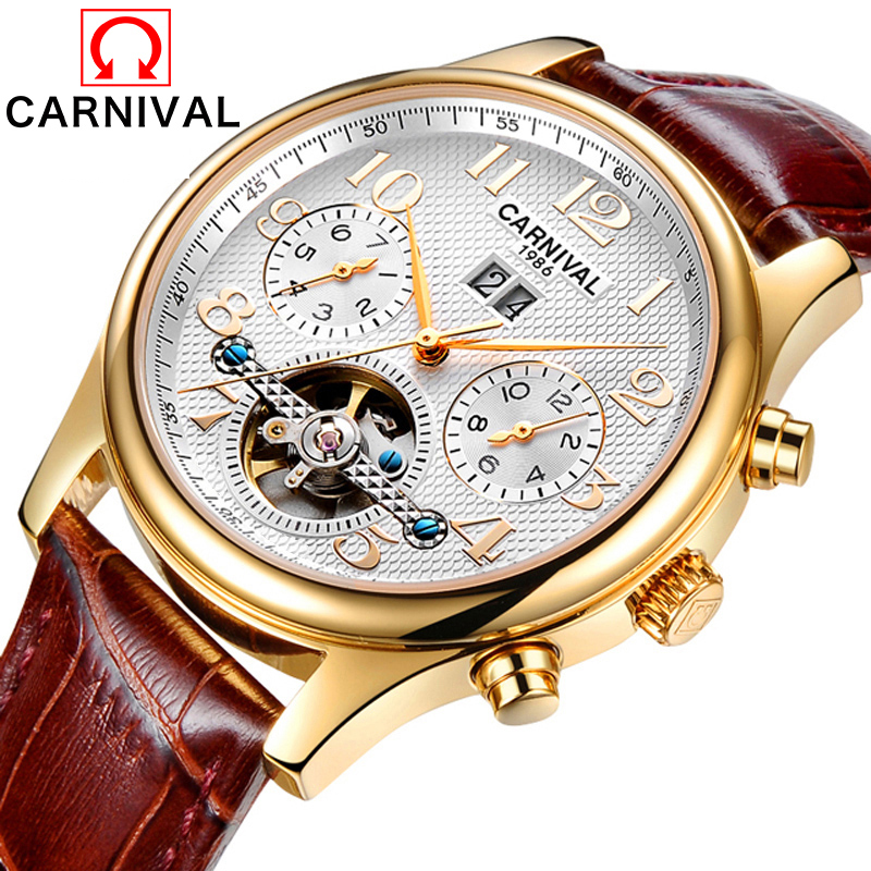 лучшая цена Carnival Watch Men tourbillon Automatic Mechanical Luminous Stainless Steel Waterproof multifunction Leather Band Watches
