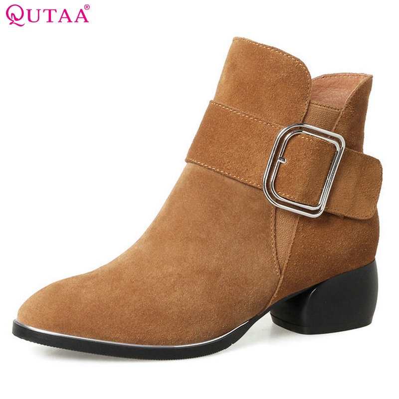 QUTAA 2018 Women Ankle Boots Fashion Square Mid Heel Zipper Round Toe Buckle Women All Match Westrn Style Ankle Boots Size 34-42 new arrival superstar genuine leather chelsea boots women round toe solid thick heel runway model nude zipper mid calf boots l63