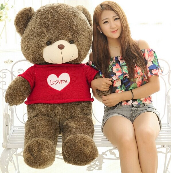 big lovely teddy bear toy red sweater bear toy heart bear toy gift doll about 120cm 0142 lovely panda in pink dress big 90cm plush toy panda doll soft throw pillow proposal birthday gift x030