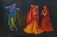 Handmade Modern Abstract Wall Art Decorative Portrait Figure Canvas Picture HandPainted Indian Women and Hindu Deity Dance Paint
