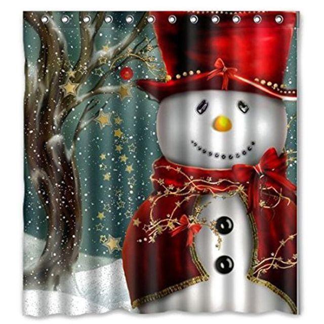 Smile Snowman Shower Curtain Merry Christmas Sleepy Pattern Waterproof Bathroom Bath