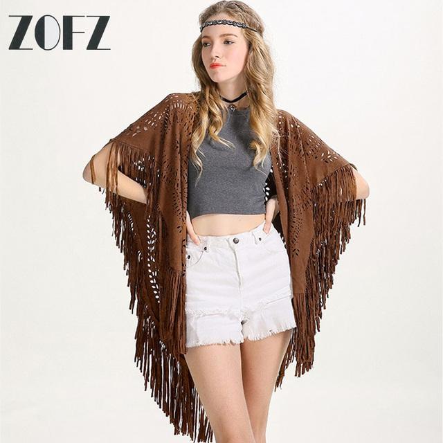 ZOFZ marca mantón de Verano Estilo de la borla de las mujeres Chal chal de Diseño de Moda Faux Suede Hollow Out Floral Escultura Asimétrica Capas