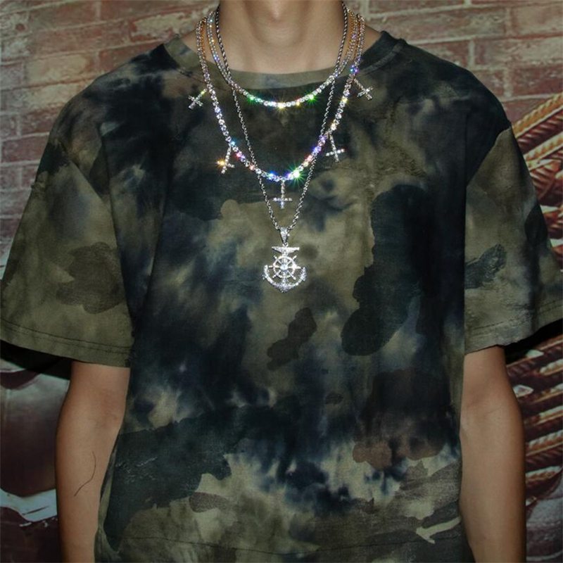 Livraison directe glacé cubique zircone 1 rangée chaîne de Tennis avec croix pendentif collier 5mm largeur mode pour hommes/femmes bijoux