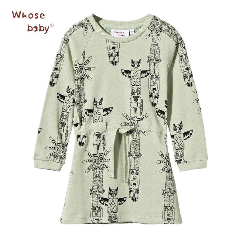 Animal Owl Print font b Dresses b font For Girls Kids Autumn Winter Baby font b
