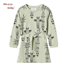 Animal Owl Print Dresses For Girls Kids Autumn Winter Baby Dress Party Elastic Waist Children Clothing Vestido Infantil