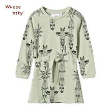 Animal Owl Print Dresses For Girls Kids Autumn Winter Baby Dress Party Elastic Waist Children Clothing Vestido Infantil