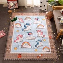 TREENDPOOL Premium Quilted Cotton Baby Play Mat Cute Cartoon Unicorn Pattern Children Rug Animal Thickening Carpet Creeping