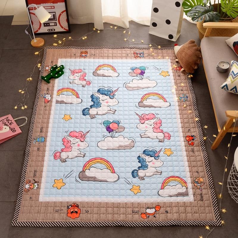 TREENDPOOL Premium coton matelassé bébé tapis de jeu mignon dessin animé motif licorne enfants tapis Animal épaississement tapis bébé rampant