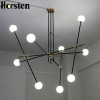 Horsten Creative Nordic Modern Art Pendant Lights Glass Ball Iron Hanging Pendant Lamps Bedroom Living Room
