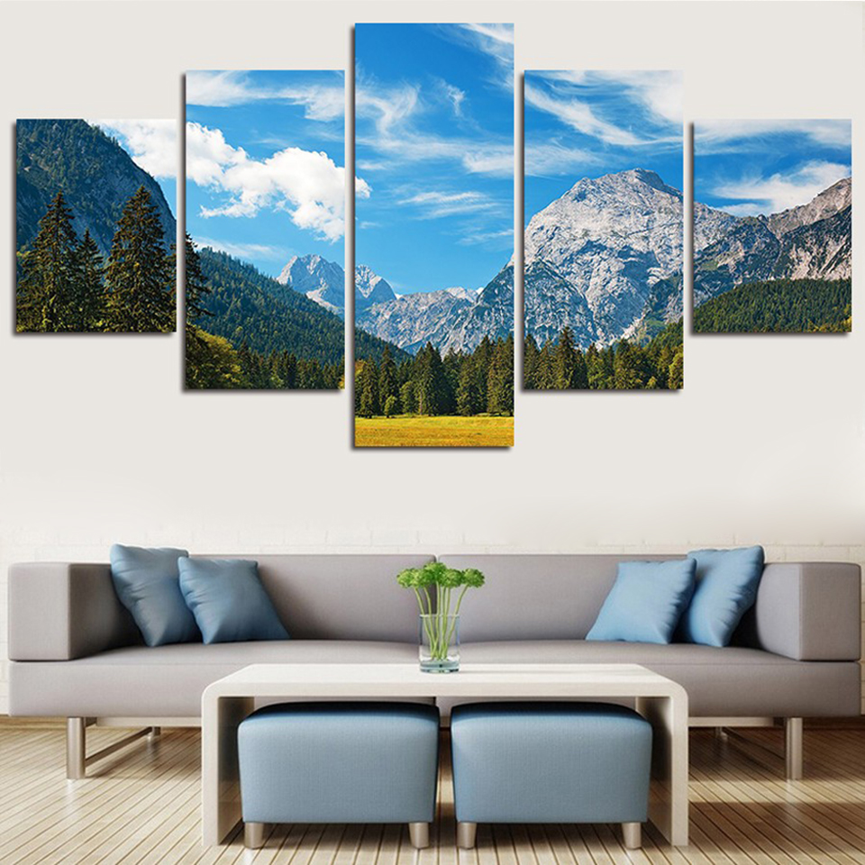 Art Pictures Framework Posters Modern Wall 5 Panel Plateau Snow Mountain Golden Field Home Decor Living Room HD Print Painting