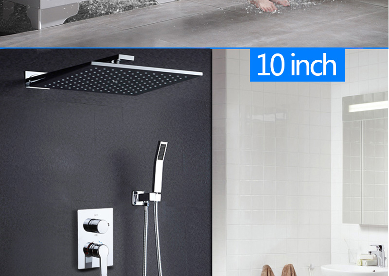DCAN Bathroom Luxury Rain Mixer Shower Combo Set Wall Mounted 10'' Rainfall Shower Head System Polished Chrome (22)