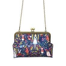 Alice in Wonderland Kadınlar için Crossbody Çanta Çanta Moda Karikatür Bayan Zincir Parti omuzdan askili çanta postacı çantası
