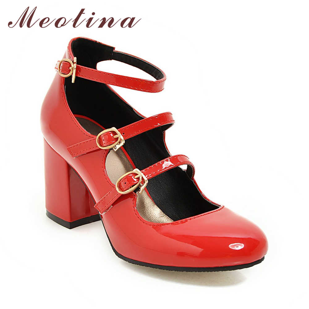 af2a89a1352 ... Meotina Spring 2018 Shoes Women Mary Jane Thick High Heels Buckle Pumps  Party Shoes Round Toe ...