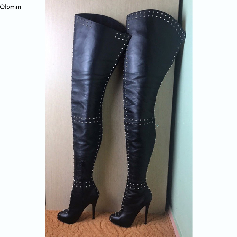 Olomm New Women Over The Knee Boots Sexy Rivets Stiletto High Heels Boots Round Toe Black Night Club Shoes Women US Size 5-15