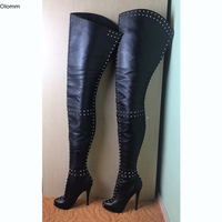 Olomm New Women Over The Knee Boots Sexy Rivets Stiletto High Heels Boots Round Toe Black Night Club Shoes Women US Size 5 15