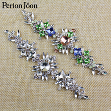 7.1*2.1 in Diy Sew on the Clothes Multi color Rhinestone Patches Crystal decorate applique for Women Wedding shoes bag YH Z028