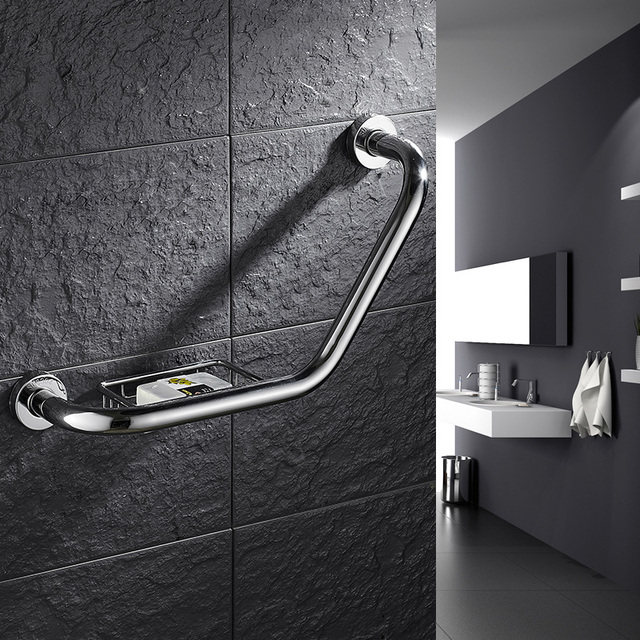 Stainless Steel Wall Mount Bathroom Bathtub Handrail With Soap ...