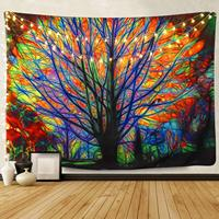 Colorful Tree Tapestry Wall Hanging Psychedelic Forest with Birds Wall Tapestry Bohemian Mandala Hippie Tapestry