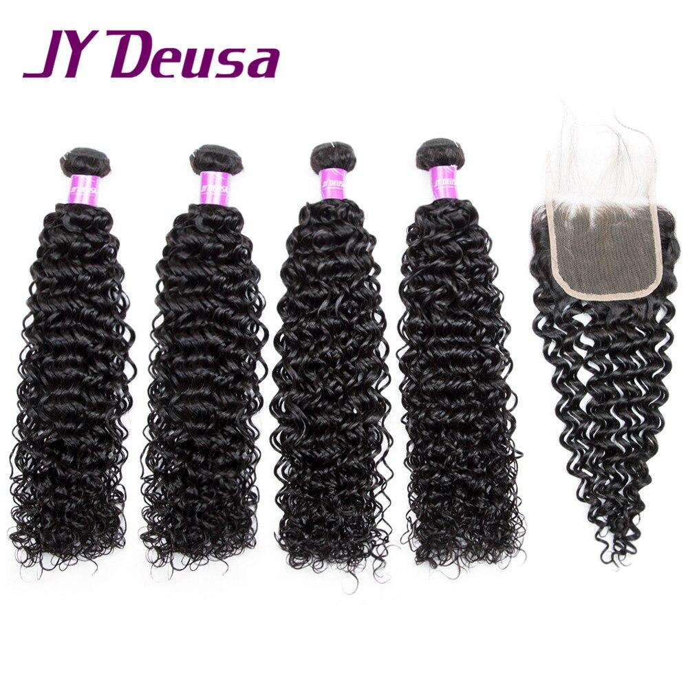 JY Deusa Indian Human Hair Bundles With Closure Kinky Curly Hair Bundles With Closure Non Remy Hair Extensions Bulk Price