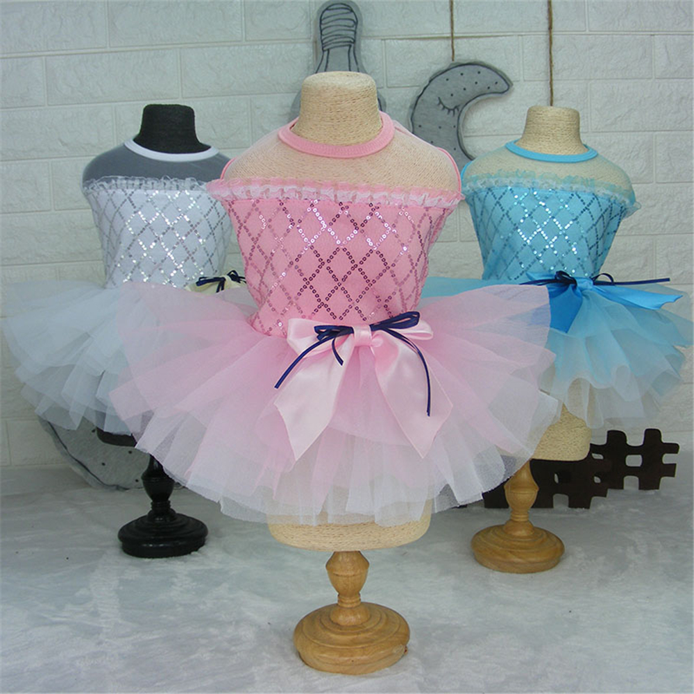 Summer <font><b>Dog</b></font> <font><b>Dresses</b></font> Spring Pet Tutu Princess Clothes Puppy Cat <font><b>Wedding</b></font> Skirt Bowknot Paillette Pets Apparel Ropa de Cachorro image