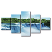 Framed 5 Panel Waterfall landscape painting Wall Art Oil Painting On Canvas Printed Pictures Decor large living room