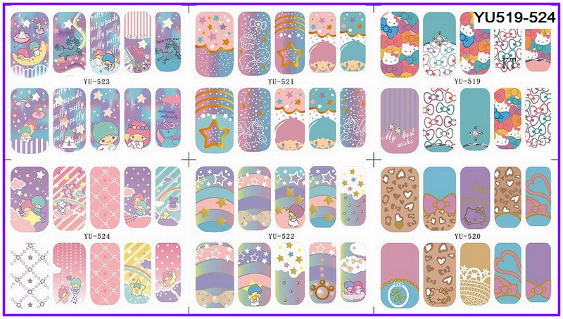 6 PACK/ LOT WATER DECAL NAIL ART NAIL TRANSFER STICKER CARTOON FULL COVER LITTLE TWIN STAR KITTEN YU519-524 semiclosed guitar string tuning pegs tuners machine heads 3l3r black
