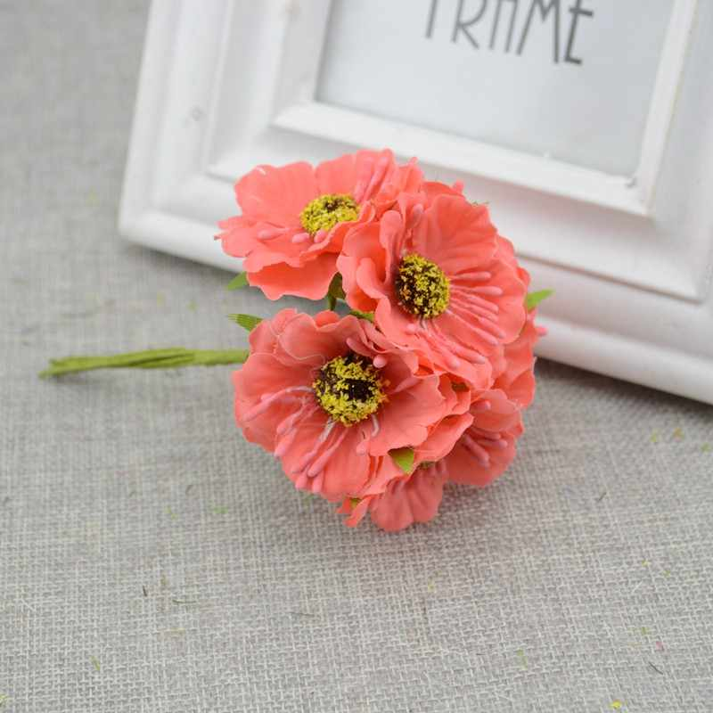 6 Pcs/lot Simulasi Buatan Cherry Blossom Bunga Buatan Pernikahan Mobil Dekorasi Rumah Buket Pengantin Buatan Tangan Bunga Sutra