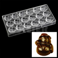 Kitchen tools Christmas snowman Shape polycarbonate chocolate mold , pastry candy baking utensils pc chocolate plastic molde