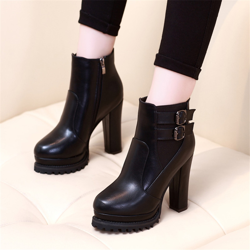 Women Boots Thick Heel Ankle Boots Platform Shoes Fashion Buckle Autumn Winter Sexy Boots For Women  Shoes girl shoes in sri lanka