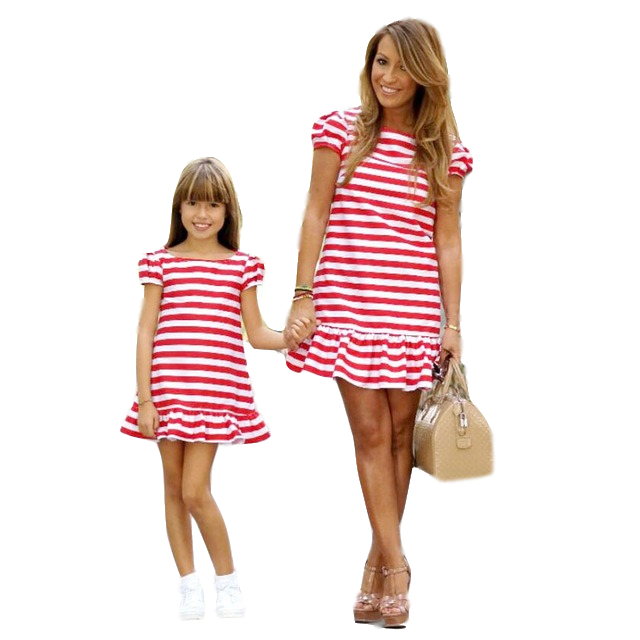 Matching Family Clothing Fashion Red Striped Mother Daughter Dresses Summer Short Sleeve Mum Girls Casual Clothes Family ClothesMatching Family Clothing Fashion Red Striped Mother Daughter Dresses Summer Short Sleeve Mum Girls Casual Clothes Family Clothes