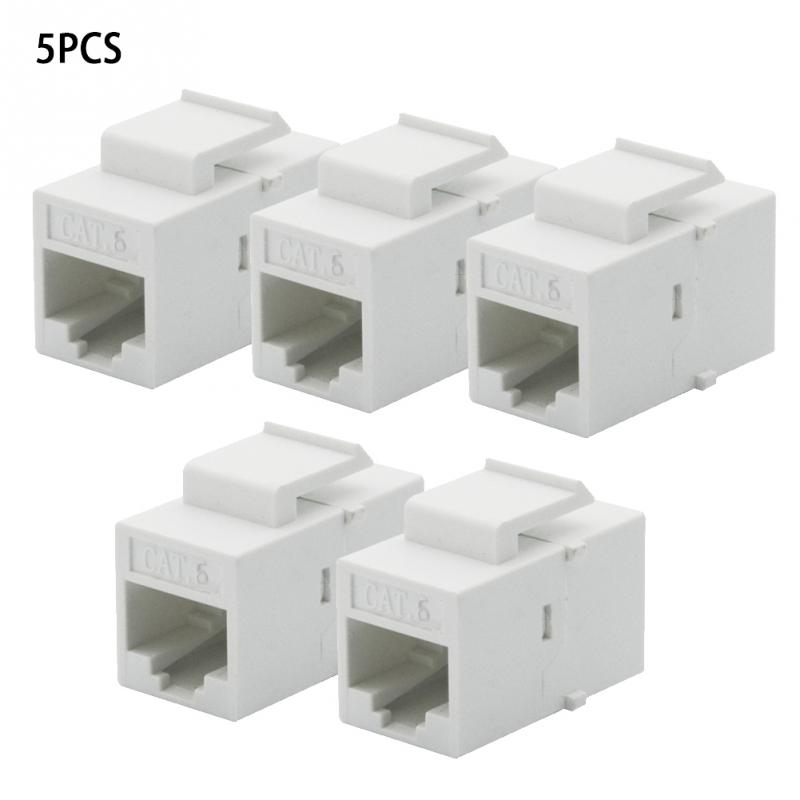 5Pcs/Set CAT6 RJ45 Keystone Jack Female Coupler Insert Snap-in Connector Socket Adapter Port For Wall Plate Outlet Panel