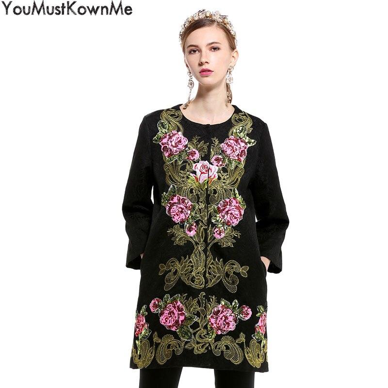 Automne Manteaux La Black Xxl Couvert Tranchée Plus Youmustknowme Taille Printemps Manteau Brodé Pardessus Long Femmes Vintage Bouton Lady sQrhtdC