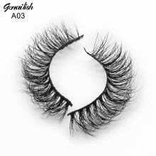 Genailish Mink Lashes Real Mink False Eyelashes Natural Cilios lashes Handmade Fake Eye Lashes Extension for makeup-A03