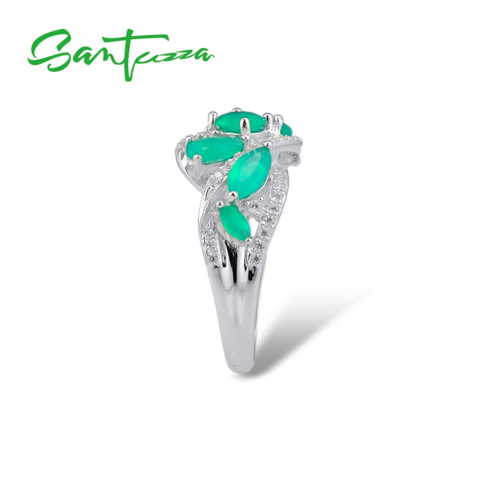 Image 4 - SANTUZZA Silver Rings For Women Pure 925 Sterling Silver Pear  Green Chalcedony Sparkling Trendy Party Ring Fine JewelryRings   -