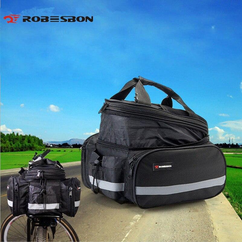 ROBESBON Bicycle Rear Bag Waterproof Saddle Bags Rack MTB Bike <font><b>Seat</b></font> Panniers Black Cycling Bicycle Rear Bag + <font><b>Rain</b></font> cover