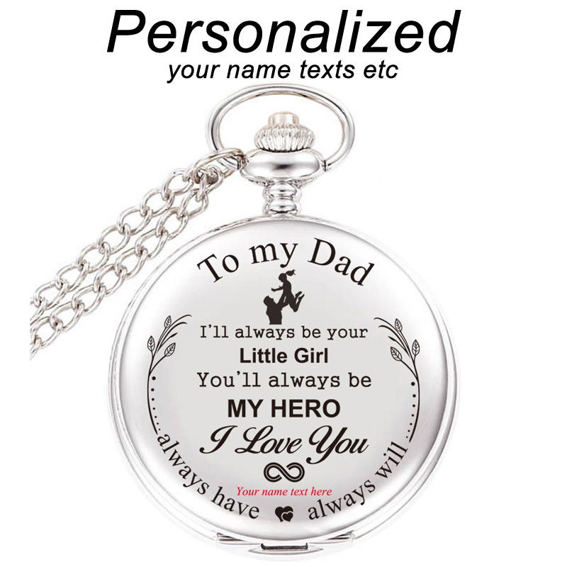 To My Dad I Love YouCustomized Gift For Birthday Gifts From Daughter Personalized Engraved With Your Name Text Pocket Watch