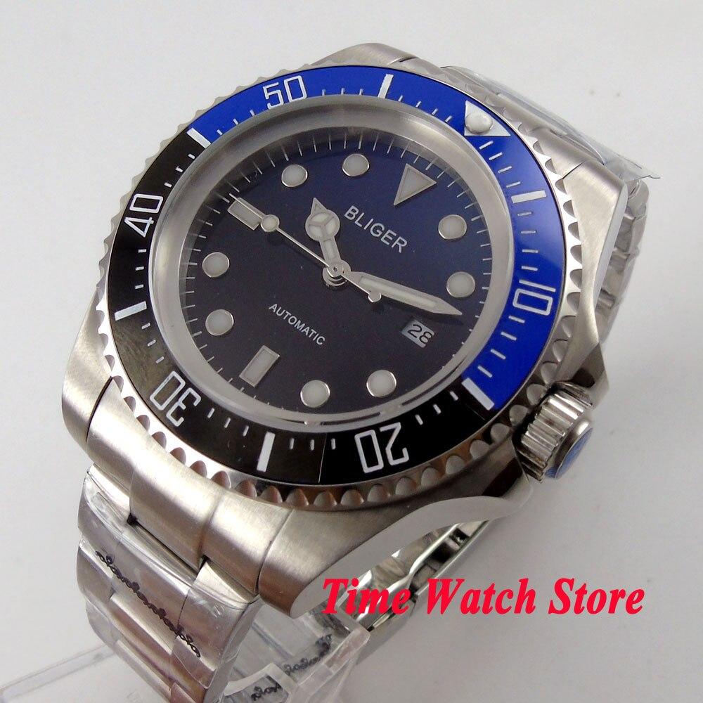 Bliger 44mm Gradient color dial luminous blue & black Ceramic Bezel Automatic movement  Mens watchBliger 44mm Gradient color dial luminous blue & black Ceramic Bezel Automatic movement  Mens watch