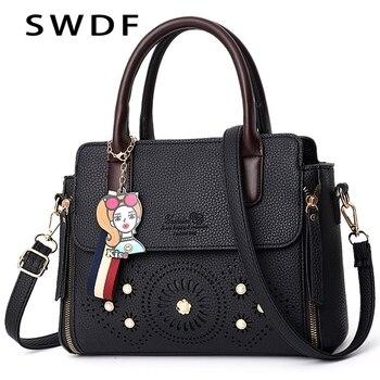101f8f5587de SWDF Для женщин Сумки известных брендов из искусственной кожи сумки Дамская  мода мультяшный кулон Роскошные оборудование инкрустация неболь.