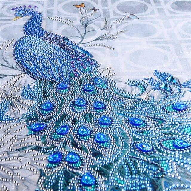 Động vật một phần Rhinestone Peacock 5D Kim Cương TỰ LÀM Kim Cương Bức Tranh Đặc Biệt Daimond phụ kiện, Kim Cương Thêu, trang trí nội thất
