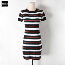 2018 New Slim Basic Knit Sweater Dresses Women Short Sleeve Striped Knitted Slim Casual Dress Spring Summer Knitwear Vestidos