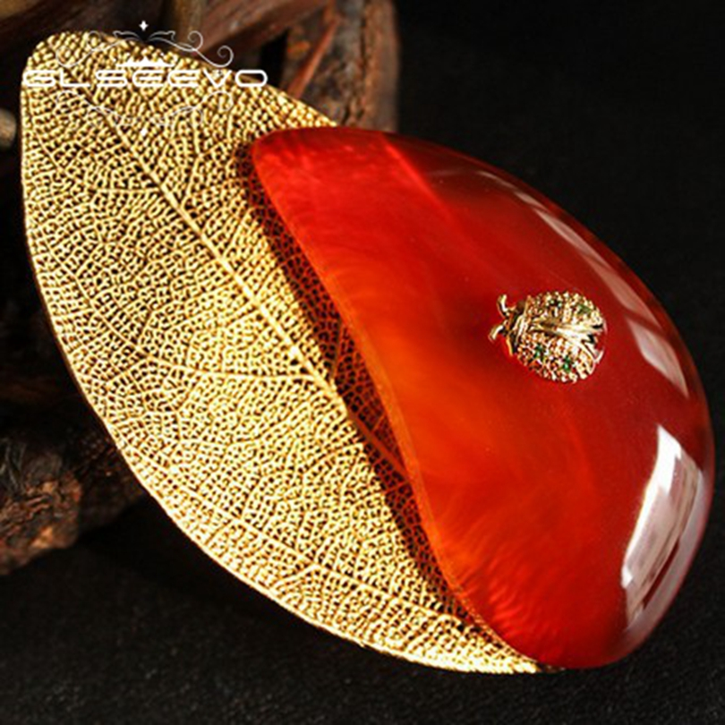 GLSEEVO Natural Red Agate Coccinella Septempunctata Brooch Hollow Leaf Pin Brooches For Women Dual Use Luxury