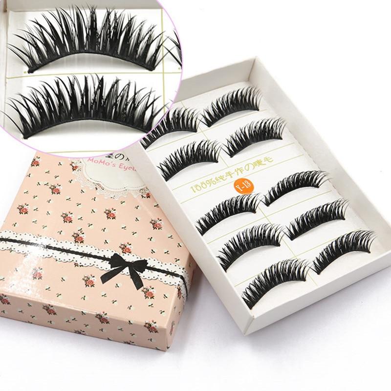 5 Pairs/1 set 3D Cross Thick False Eye Lashes Extension Makeup Super Natural Long Fake E ...