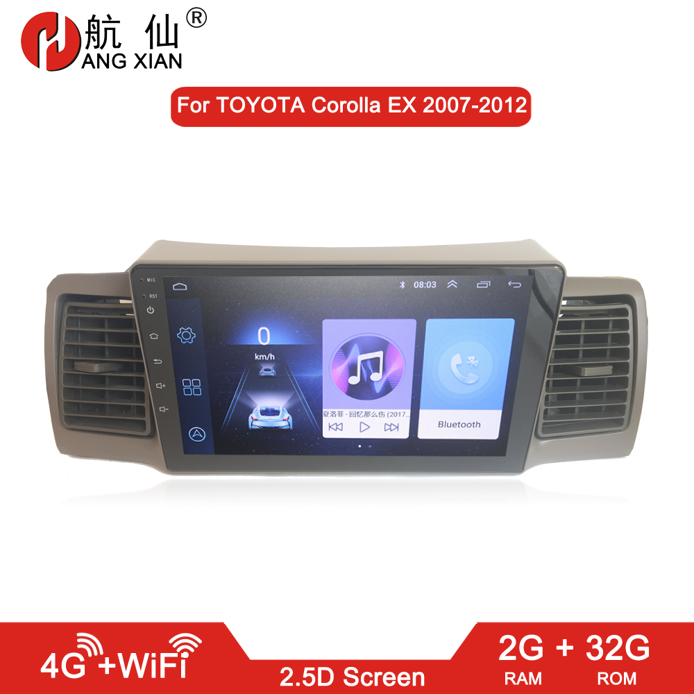 HANG XIAN 2 din Car radio for Toyota Corolla E120 Corolla EX BYD F3 car dvd player car accessory of autoradio 4G internet 2G 32GHANG XIAN 2 din Car radio for Toyota Corolla E120 Corolla EX BYD F3 car dvd player car accessory of autoradio 4G internet 2G 32G