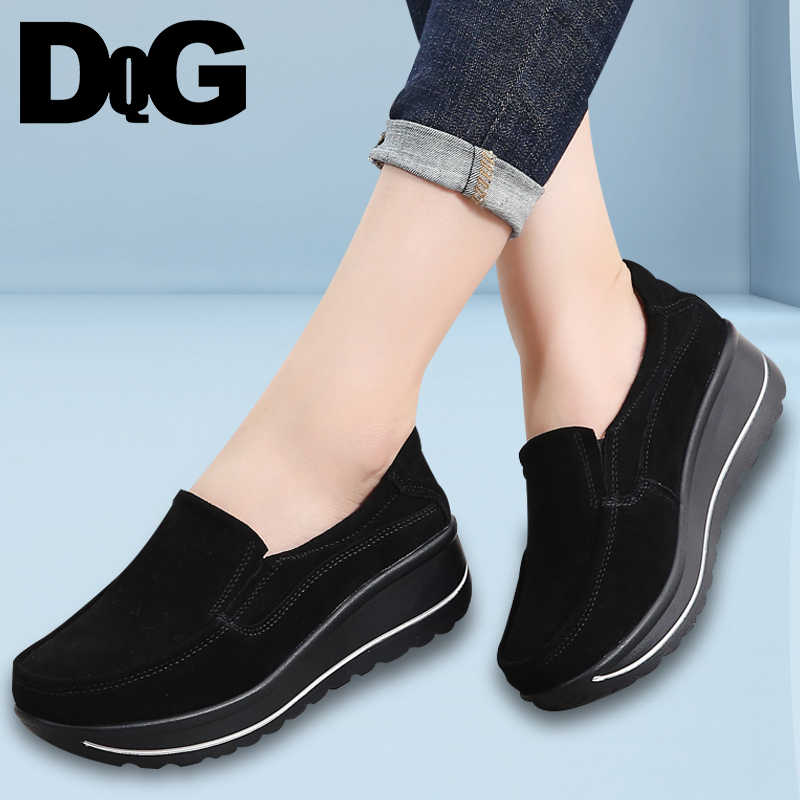 DQG Women Shoes 2018 Winter Flat Platform Sneakers Casual Slip On Loafers Ladies Shoes Solid Flats Zapatos De Mujer Espadrilles women s flat shoes summer 2018 graffiti loafers women slip on canvas espadrilles platform shoes ladies