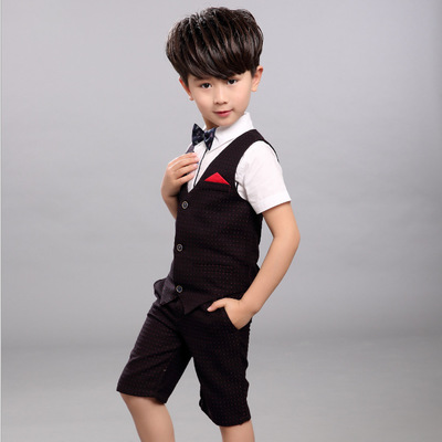 2018 Boys Clothing Sets Summer Shirt + Vest + Pants Boys Wedding Clothes Kids Gentleman Leisure Handsome Suit for 10 12 years