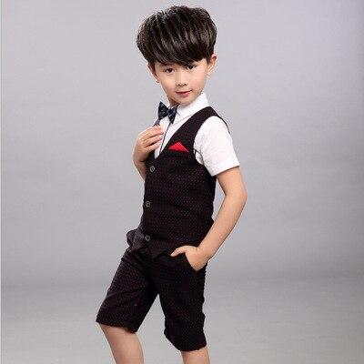 2018 garçons vêtements ensembles été chemise + gilet + pantalon garçons vêtements de mariage enfants Gentleman loisirs beau costume pour 10 12 ans